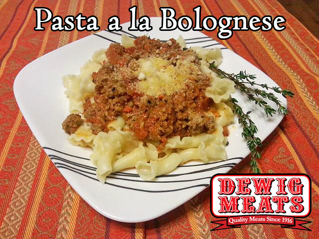 Pasta a la Bolognese from Dewig Meats. Try using Dewig Meats Regular Pork Sausage for your next pasta night! Our ground sausage complements the rich sauce in this Pasta a la Bolognese perfectly.