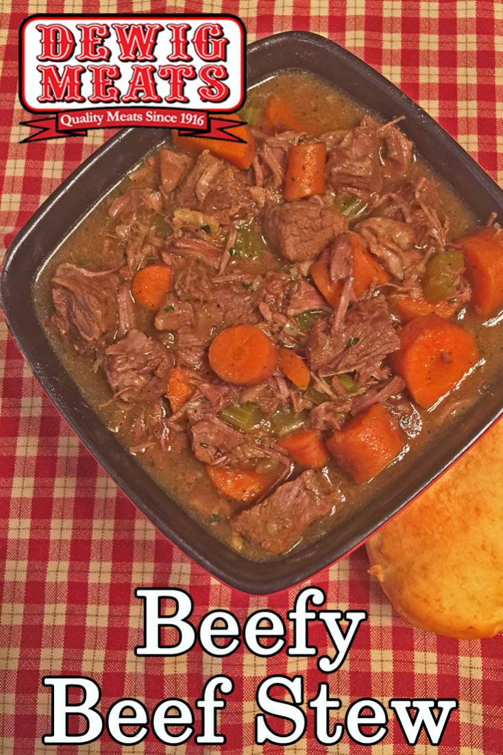 Beefy Beef Stew from Dewig Meats. Use some of Dewig Meats chuck roast to cook up this Beefy Beef Stew in your slow cooker. It's the perfect no-fuss comfort food dinner for a busy, cold day!