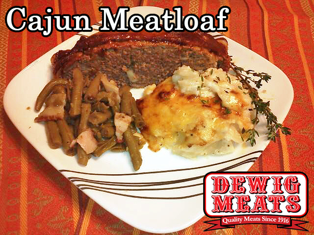 Cajun Meatloaf from Dewig Meats. Meatloaf doesn't have to be boring! This Cajun Meatloaf is packed with Cajun seasoning, Tabasco sauce, plus a few special ingredients from Dewig Meats.