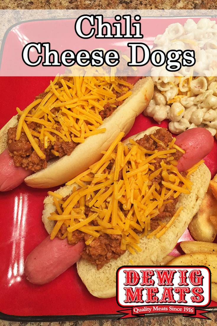 Chili Cheese Dogs from Dewig Meats. Hot dogs aren't just for kids! Get a grown-up twist with these Chili Cheese Dogs. They are perfect for a busy weeknight or a lazy summer weekend.