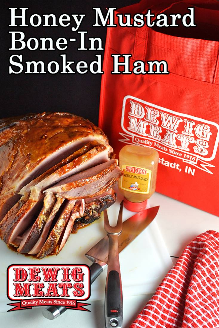 Honey Mustard Bone-In Smoked Ham from Dewig Meats. You'll love how easy it is to cook with award-winning Dewig Meats Bone-In Smoked Ham. Add Simply Supreme Honey Mustard Glaze for an easy holiday ham.