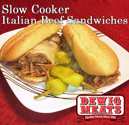 Slow Cooker Italian Beef Sandwiches from Dewig Meats. When you need to feed a crowd, make these Slow Cooker Italian Beef Sandwiches with Dewig Meats Rump Roast. Set up your slow cooker, and get ready to enjoy!