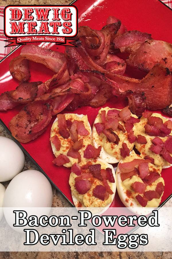 Bacon-Powered Deviled Eggs from Dewig Meats. Make these Bacon-Powered Deviled Eggs for your next family party or work potluck. Everyone is sure to love this fun twist on a classic recipe!