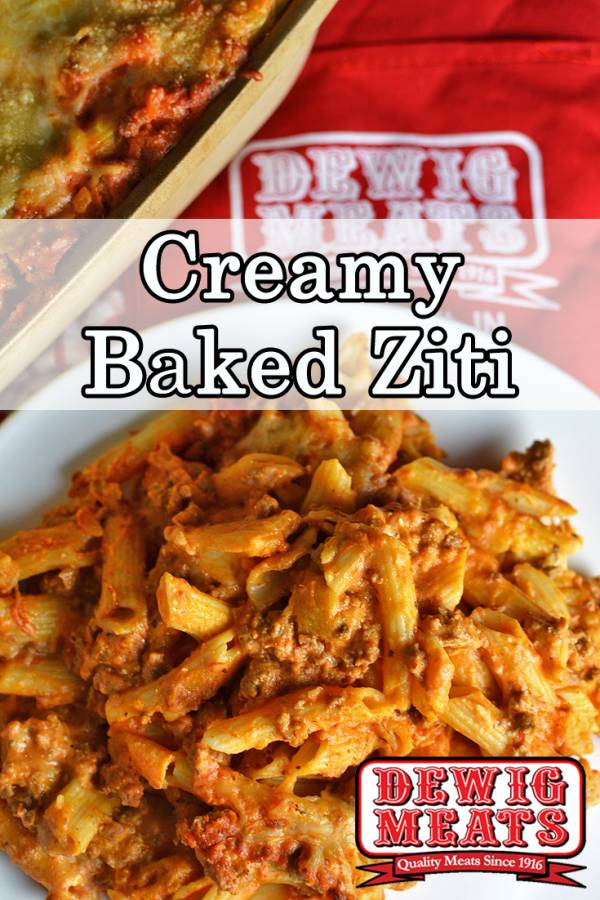 Creamy Baked Ziti from Dewig Meats. Feed your hungry family with this Creamy Baked Ziti with Dewig Meats Ground Beef. You'll have plenty for dinner tonight and lots of leftovers for tomorrow!