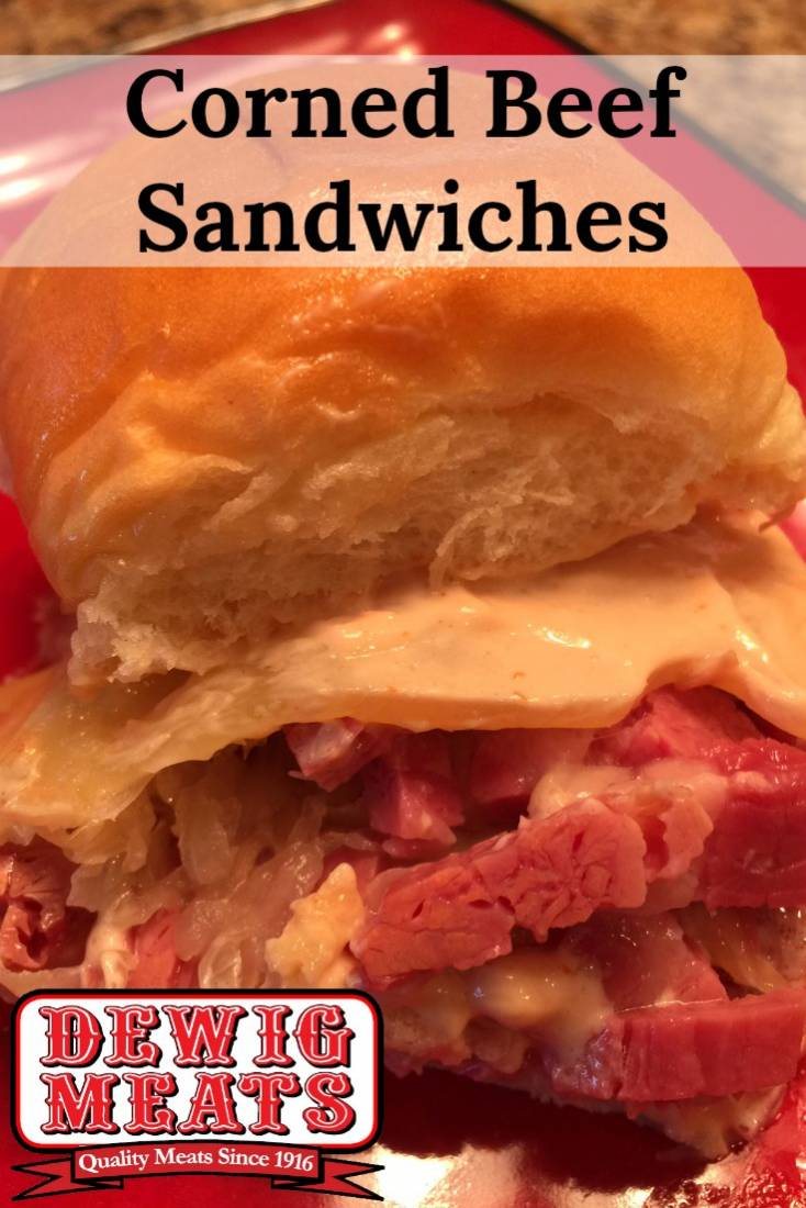 Corned Beef Sandwiches from Dewig Meats. Not much beats a good Corned Beef Sandwich piled high with sauerkraut and Swiss cheese. The sauerkraut combined with the dressing really packs a punch.