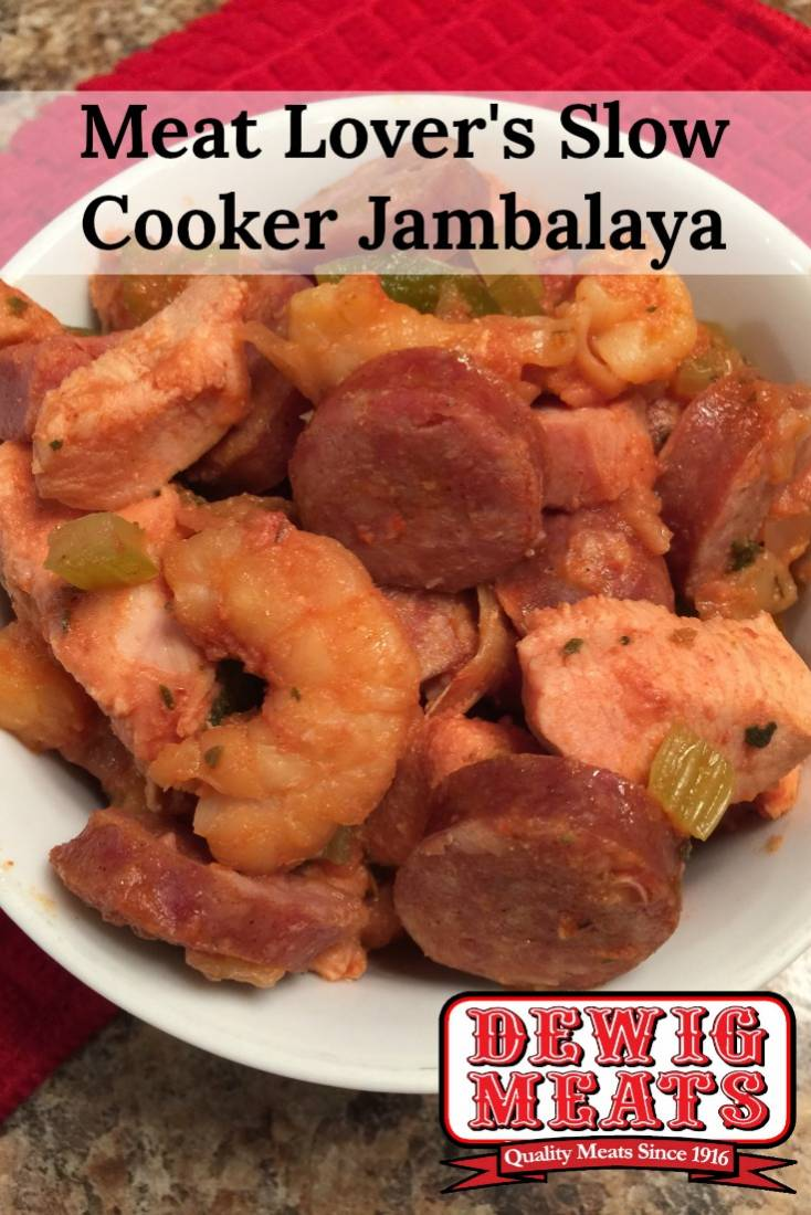 MEAT LOVER'S SLOW COOKER JAMBALAYA from Dewig Meats. This recipe for Meat Lover's Slow Cooker Jambalaya couldn't be any easier. This recipe is easy to make, and has a kick of Cajun flavor!
