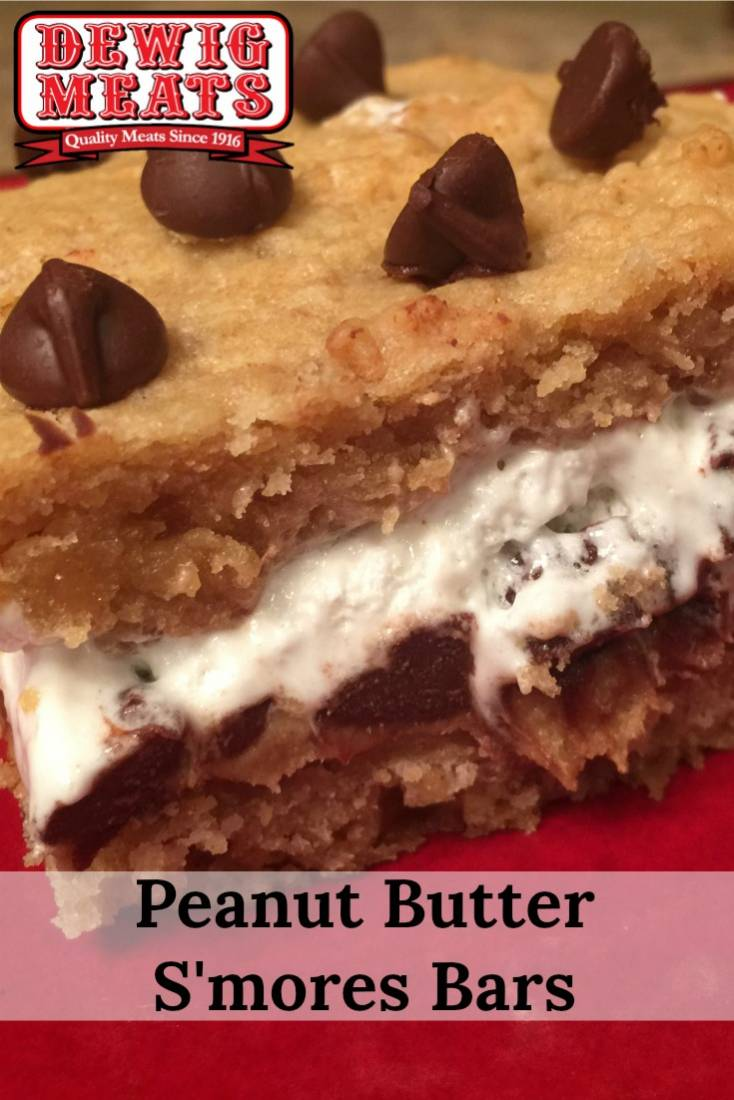 Peanut Butter S'mores Bars from Dewig Meats. Do you love s'mores but want to avoid the campfire? This recipe for Peanut Butter S'mores Bars is sure to excite any s'more lover!