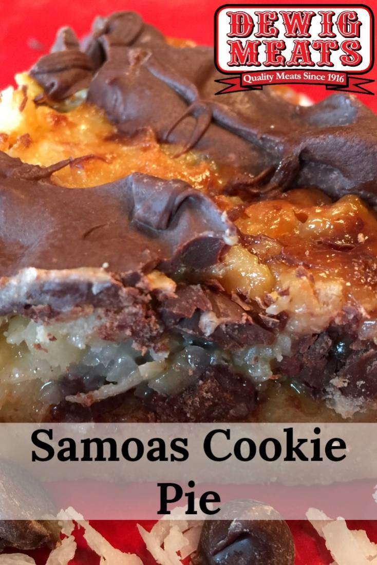 Samoas Cookie Pie from Dewig Meats. This recipe for Samoas Cookie Pie is a flavorful recipe full of chocolate, coconut, and caramel! With this recipe, it's Girl Scout cookie season year-round.