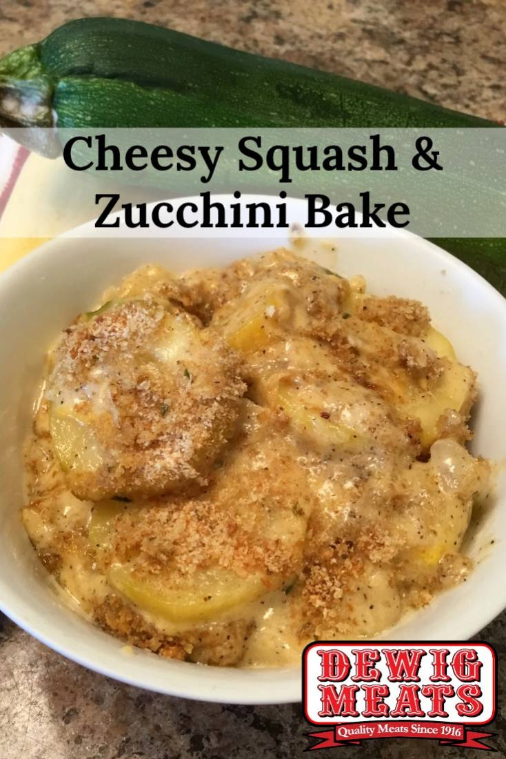 Squash and Zucchini Bake from Dewig Meats. Cheesy Squash & Zucchini Bake is a summer favorite, packed with flavor and a great addition to dinner. This recipe is creamy, savory, and sure to be a hit!