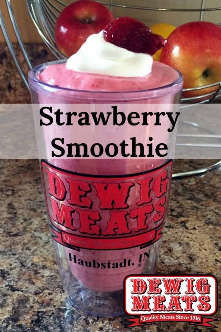 Strawberry Smoothie from Dewig Meats. This recipe for Strawberry Smoothies is ready in a snap and tastes great! It's easy to make, full of fruity flavors, and is good for you too!