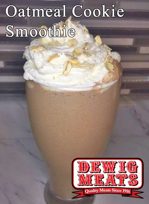 Oatmeal Cookie Smoothie from Dewig Meats. If you've ever wanted cookies for breakfast, then this recipe for Oatmeal Cookie Smoothies is for you. It's creamy, sweet, and tastes just like a cookie.