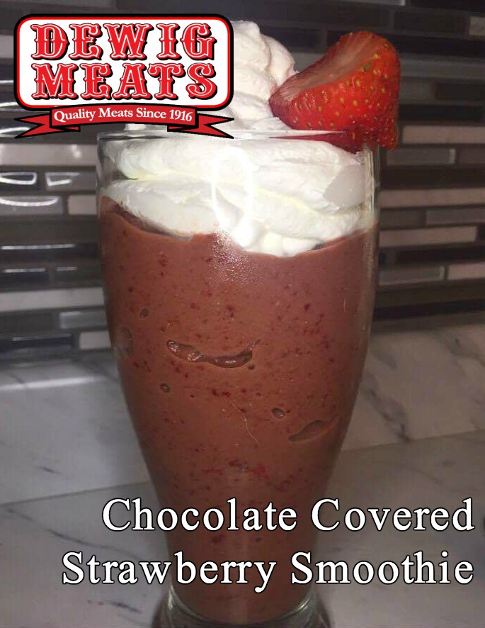 Chocolate Covered Strawberry Smoothie from Dewig Meats. This recipe for Chocolate Covered Strawberry Smoothies is rich, decadent, and tastes just like a chocolate covered strawberry!