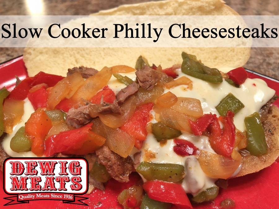 SLOW COOKER PHILLY CHEESESTEAKS from Dewig Meats. These Slow Cooker Philly Cheesesteaks are savory, cheesy and totally delicious! They are the perfect for those days you want to throw something in the slow cooker and forget about it. They're easy to make and are packed full of flavor.